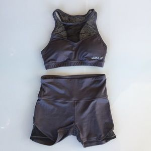 Adore Me sports bra and high waisted shorts set